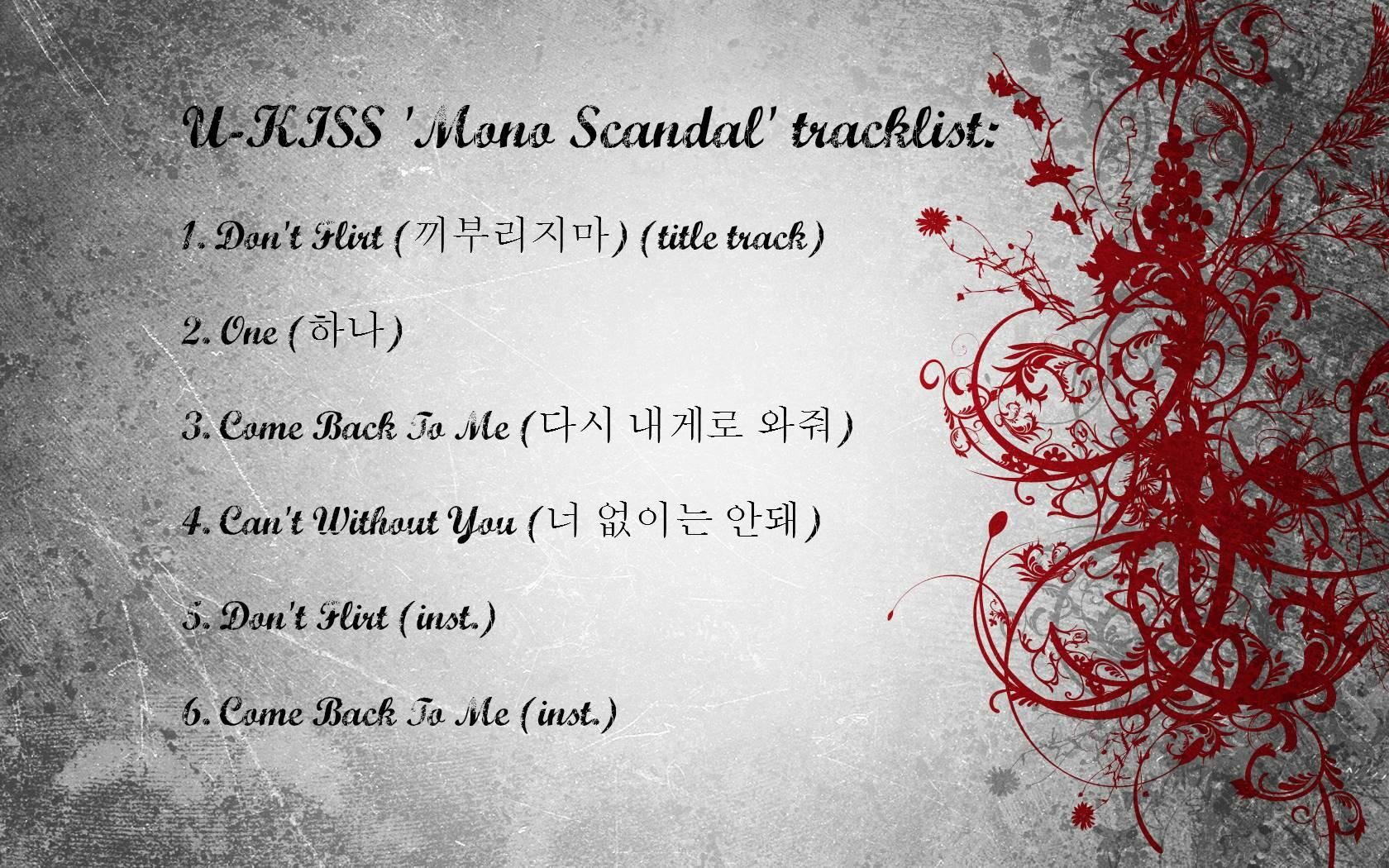 U Kiss Mono Scandal Tracklist